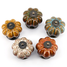New Design Pumpkin Shape Kitchen Cabinet Knobs Dresser Drawer Ceramic Porcelain Pulls Handles 5PCS