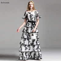 2018 women summer flower embroidery long dress white flare sleeve party evening short sleeve ball gown cake organza dress 9516