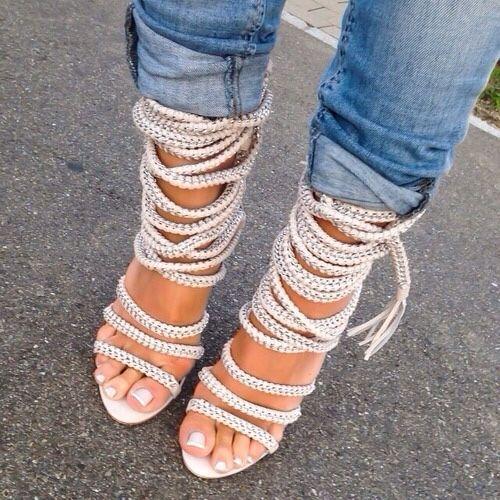 Élégant Beige white Chaussures Crossed Corde Gland Métal Décoration En Fixation Sexy Femmes Tie Up black Chaîne De Fringe Sandales Dentelle nfxTY