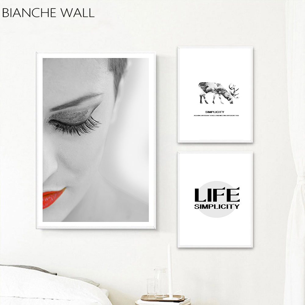 BIANCHE WALL Fashion Life Womans Makeup and Deer Tree Canvas Print Wall Art Poster Nordic Decoration Picture Bedroom Decor