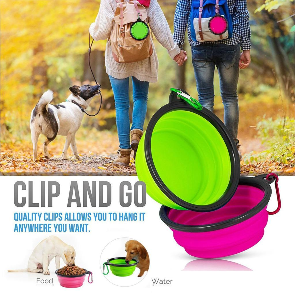 couple hiking with dog and portable travel bowl