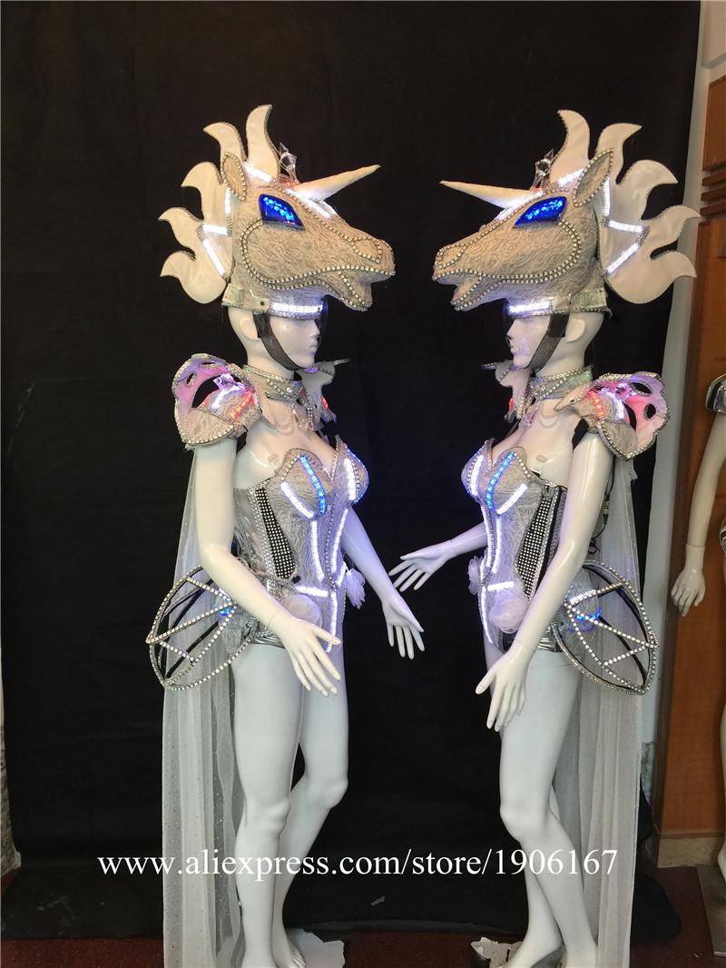 Led luminous horse costume flashing ballroom stage clothes06