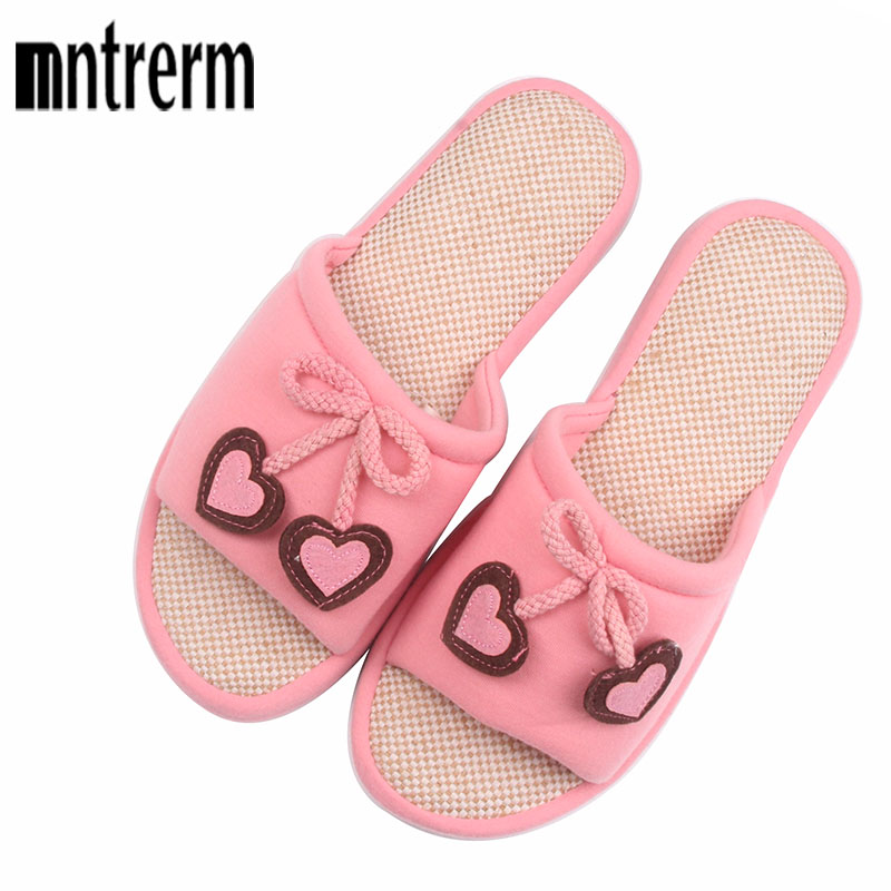 Cute Heart-Shaped Cartoon Women Home Slippers For Summer Indoor Bedroom House Spring Cotton Shoes Adult Flats Christmas Gift cute sheep animal cartoon women winter home slippers for indoor bedroom house warm cotton shoes adult plush flats christmas gift