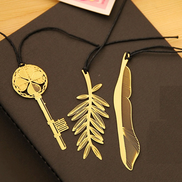 6 pcs gold palm tree metal bookmarks golded key feather book marker