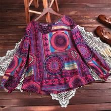 Bohemian T Shirt 2019 Women O Neck Female Spring Spain Style Boho Ethnic Long Sleeve Print T Shirt