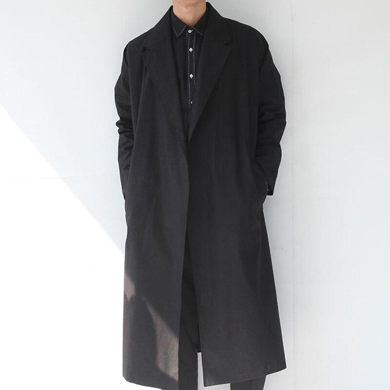 Grands chantiers vêtements homme!!! 2018 printemps style britannique ultra long paragraphe tranchée sans bouton laçage manteau manteau mâle allonger