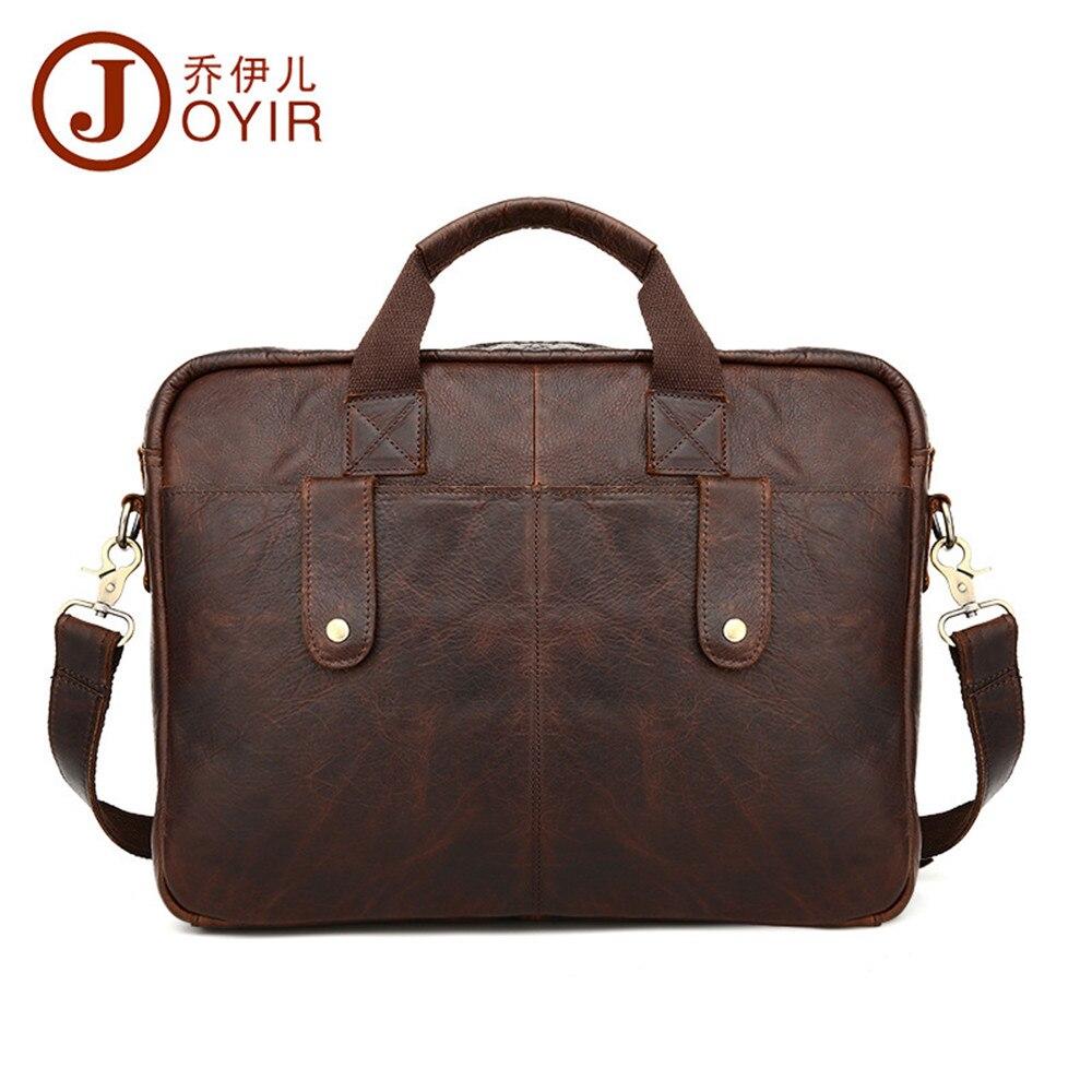 JOYIR Luxury Vintage Business Men Bag Crazy Horse Leather Travel Briefcase Laptop Bag Satchel Chocolate Mens Briefcases Handbag