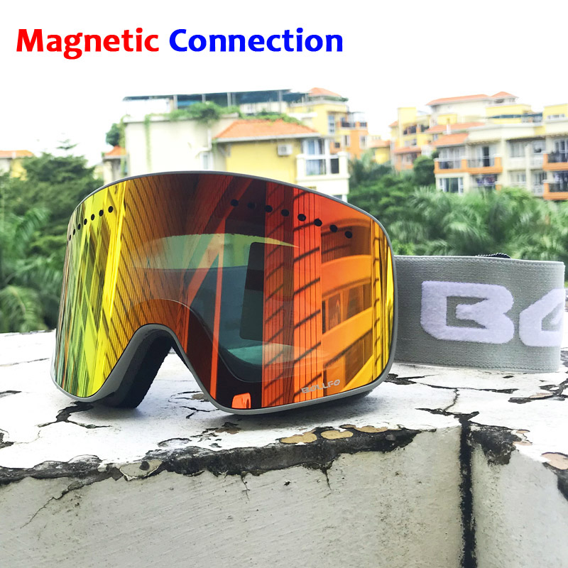 Ski Goggles with Magnetic Double Layers Lens Skiing Anti-fog UV400 Snowboard Goggles for Men Women Ski Glasses Eyewear vector brand ski goggles men women double lens uv400 anti fog skiing eyewear snow glasses adult skiing snowboard goggles
