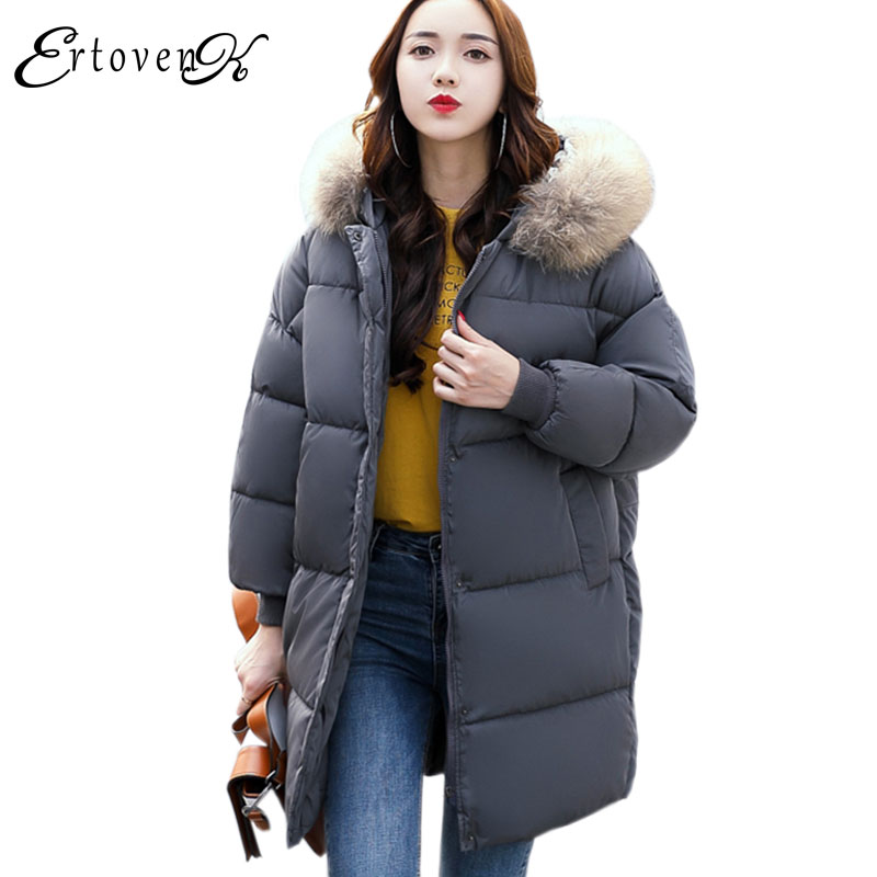 Winter Women Loose Long Cotton Jacket 2017 New Plus size Hooded Thickening Keep Warm Cotton Coats Fur collar Femmes OuterwearY18 2017 new autumn winter cotton coats women vintage print long hooded thickening cotton padded jacket warm overcoat plus size z162