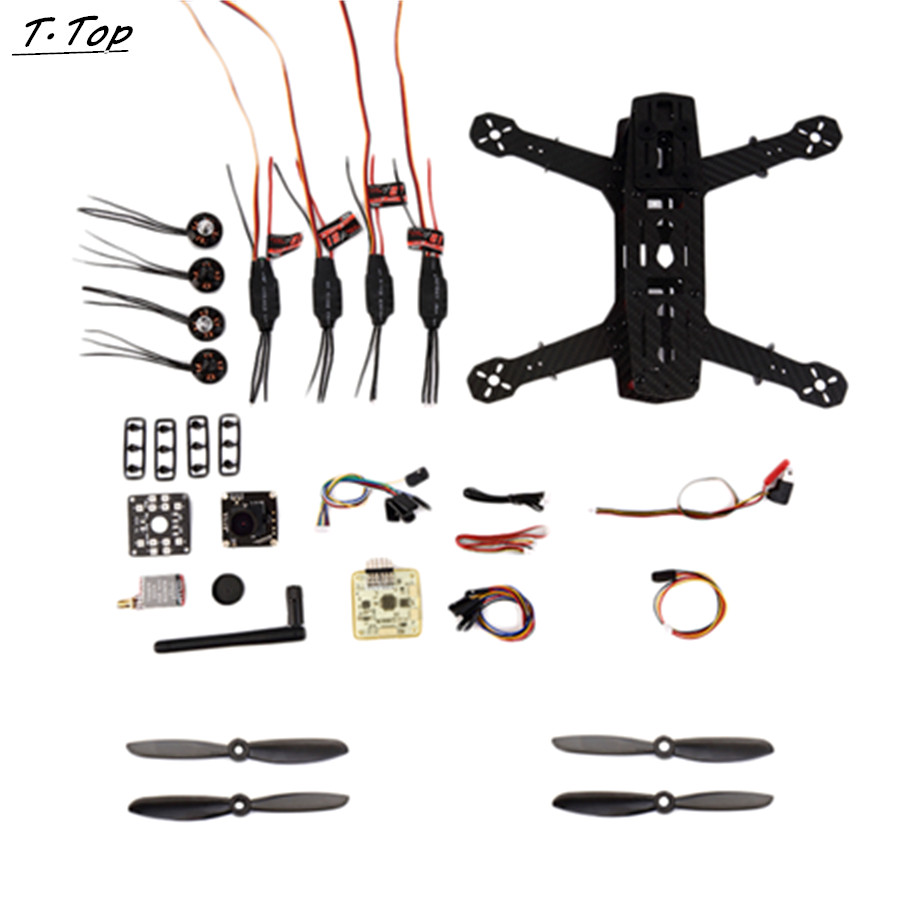 1 Set Mini Carbon 250 FPV Quadcopter Frame Kit Unassembled with AV Transmitter Camera Full Accessory Drone with two batteries yuneec q500 4k camera with st10 10ch 5 8g transmitter fpv quadcopter drone handheld gimbal case