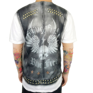 Image 4 - Halloween Party Funny Leather Vest Printed Biker T Shirts for Men Cool Rider Long Sleeve Tattoo Tee Halloween Costumes