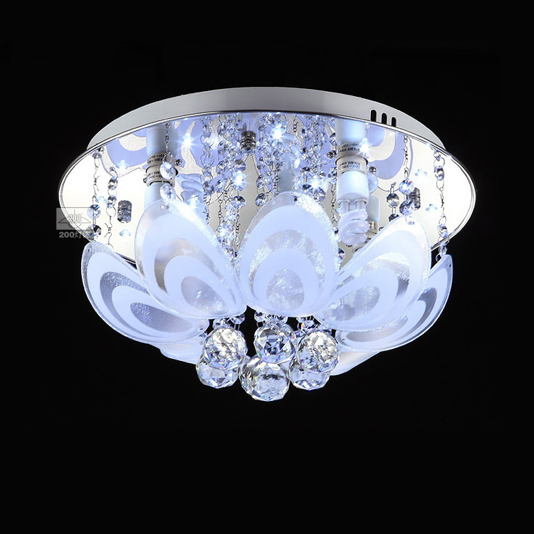 """Luxury 16"""" Crystal LED Round Top Bedroom Ceiling Light"""