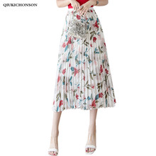 Korean Fashion Floral Chiffon Pleated Skirt Women High Waisted Spring Summer Long Midi Skirts Ladies Elastic Waist A-Line Skirt все цены