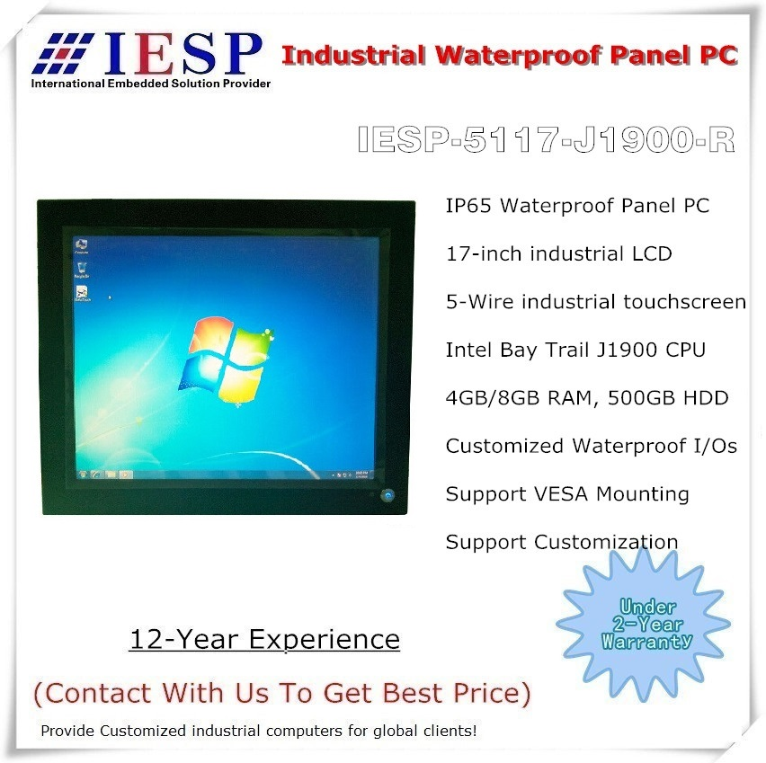 17 inch Waterproof Industrial Panel PC, J1900 CPU,4GB RAM ,500GB HDD, 5-w touchscreen, Full IP65 Touch Panel PC