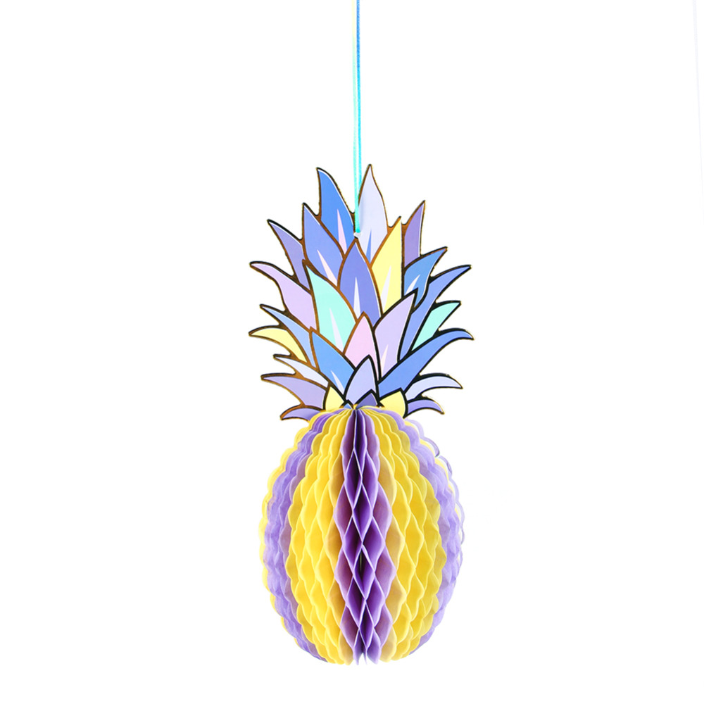 3pcs Foil Gold Paper Hanging Honeycomb Pineapple Decor Summer Party ...