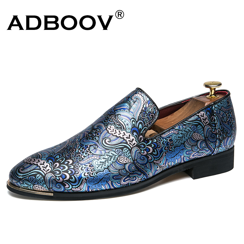 ADBOOV Print Leather Loafers Men Shoes Slip On Semi Dress Shoes Men Round Toe Casual Shoes Low Heel Men Flat Formal Shoes goodster new men s business casual shoes genuine leather flat low men single shoes slip on shoes men