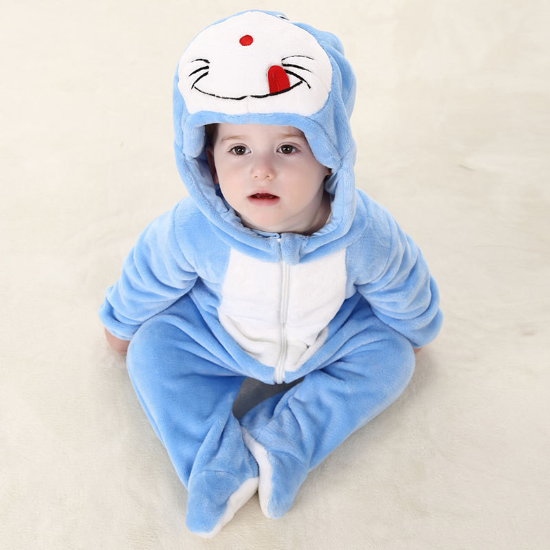 2018 Autume New Baby Blue Cat Long Rompers Infant Baby Girl Boy Cartoon Hooded Body Romper 0-2 Years Old Kids Clothing 2018 Autume New Baby Blue Cat Long Rompers Infant Baby Girl Boy Cartoon Hooded Body Romper 0-2 Years Old Kids Clothing