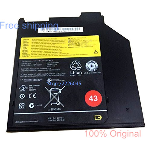 IECWANX 100% new Laptop Battery 45N1040 (10.8v 32wh 2900mAh) for Lenovo ThinkPad 43 3-Cell Ultrabay Battery (0A36310)