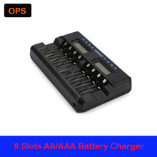 Advanced MCU Controlled 8 Bay AA/AAA NiMH/NiCD Smart Battery Charger with Independent LCD Indication