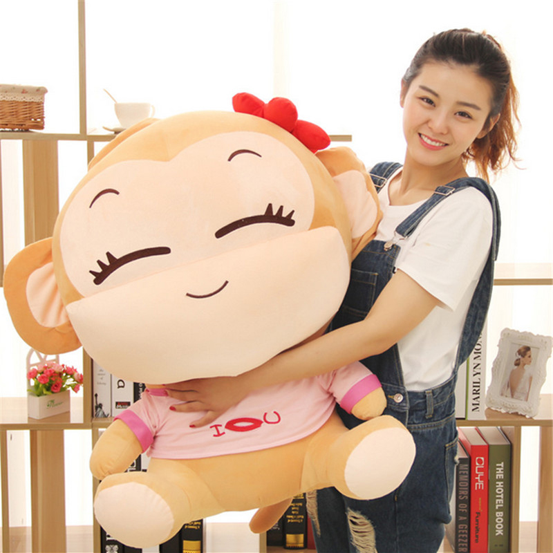 Fancytrader 100cm Anime Lover Monkeys Doll Stuffed Soft Plush Cute Giant Monkey Toy 2 Model creative dump monkey falling toy tumbling monkeys party