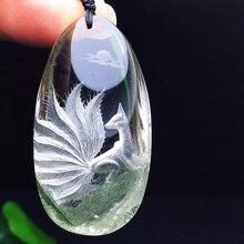 Colgantes de cristal de fantasma Natural verde para hombre y mujer, collar de cadena de suéter de Fénix tallado a mano, joyería de cristal