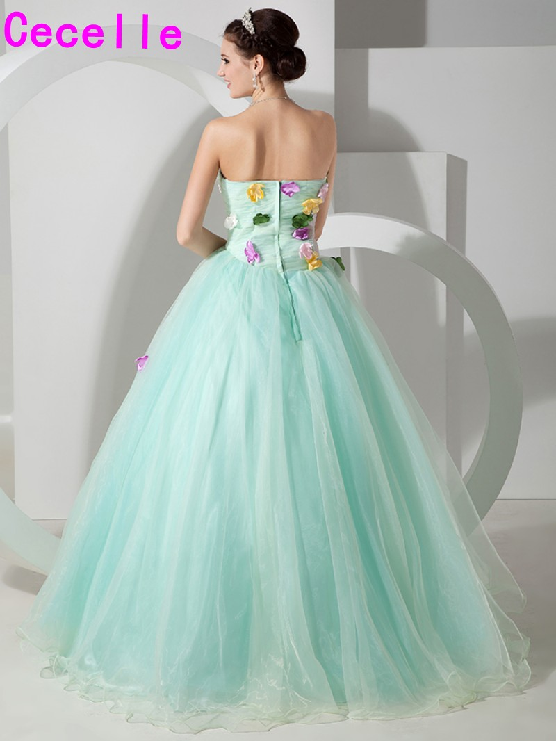 Colorful Mint Long Ball Gown Prom Dresses Sweetheart Pleats Organza ...
