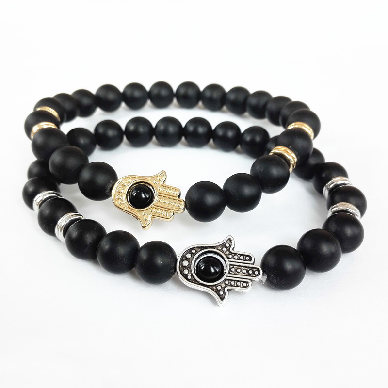 Gold Silver Hamsa Hand Charms Bracelet Yoga Mala Bracelets Nature 8mm Black Matte Onyx Energy Stone Beads In Strand From Jewelry