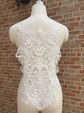 Ivory White Rhinestone Wedding Dress Beaded Lace Applique Neckline Collar Appliques Embroidery Lace Trim Sewing on Motif Patches