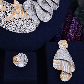 Luxury Shinning Flower Leaf  Bridal Cubic  Jewelry Set 3