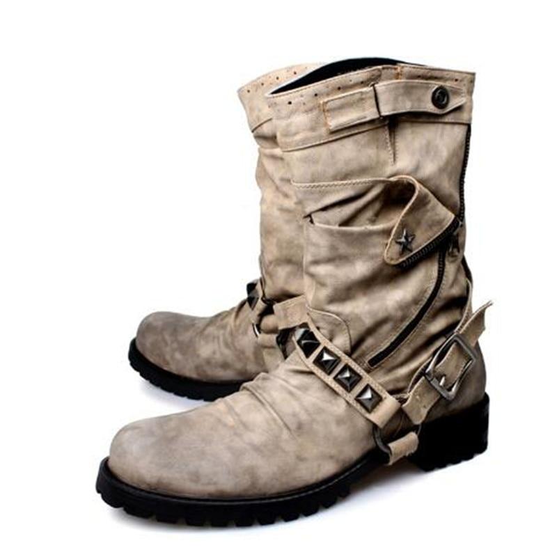 Hommes Cloutés Véritable Cuir Chaussures Cowboy as De Militares Picture Noir En Bottes Hombre Botas Rivets Picture Marque Hiver As Luxe mnO0wvN8