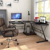 L-образный черный деревянный компьютерный стол HW51072