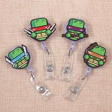 Cartoon Tortoise Heros Retractable Badge Holder Reel Exhibition Enfermera Students Girls Name PU Card Hospital Office Chest Card