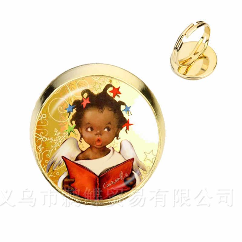 2018 New Merry Christmas แหวนการ์ตูนน่ารักเงิน/ทองคำขาวแหวนคริสต์มาสแองเจิลโรแมนติกเครื่องประดับ Xmas ของขวัญ