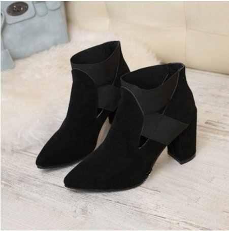 Дамы толстый каблук высокие ботинки «Martin» на каблуках обувь плюс Размеры 34–43 Демисезонный Для женщин ботильоны из флока с острым носком обувь