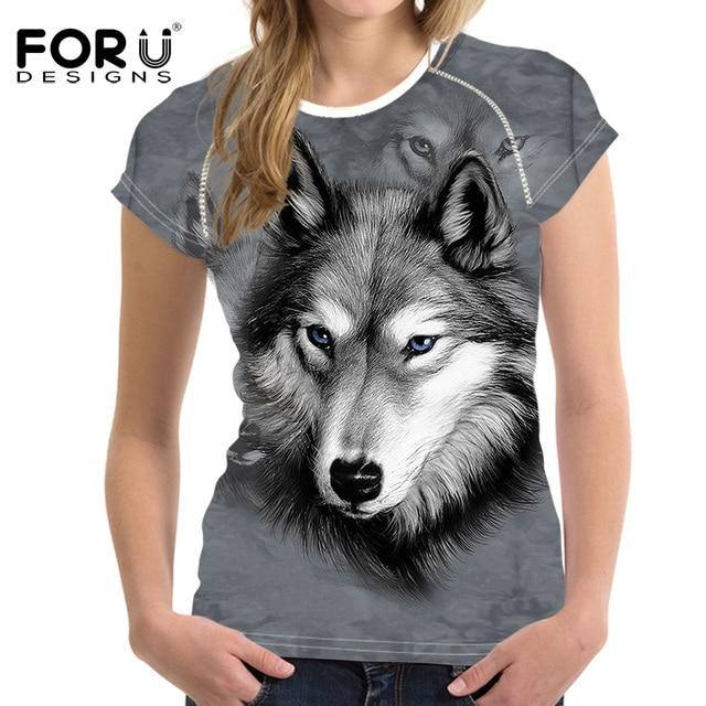 3e6ecba394 FORUDESIGNS Moda Lobo Animal Impresso Mulheres Camiseta Manga Curta Verão  Conforto Soft Top Tees For Ladies