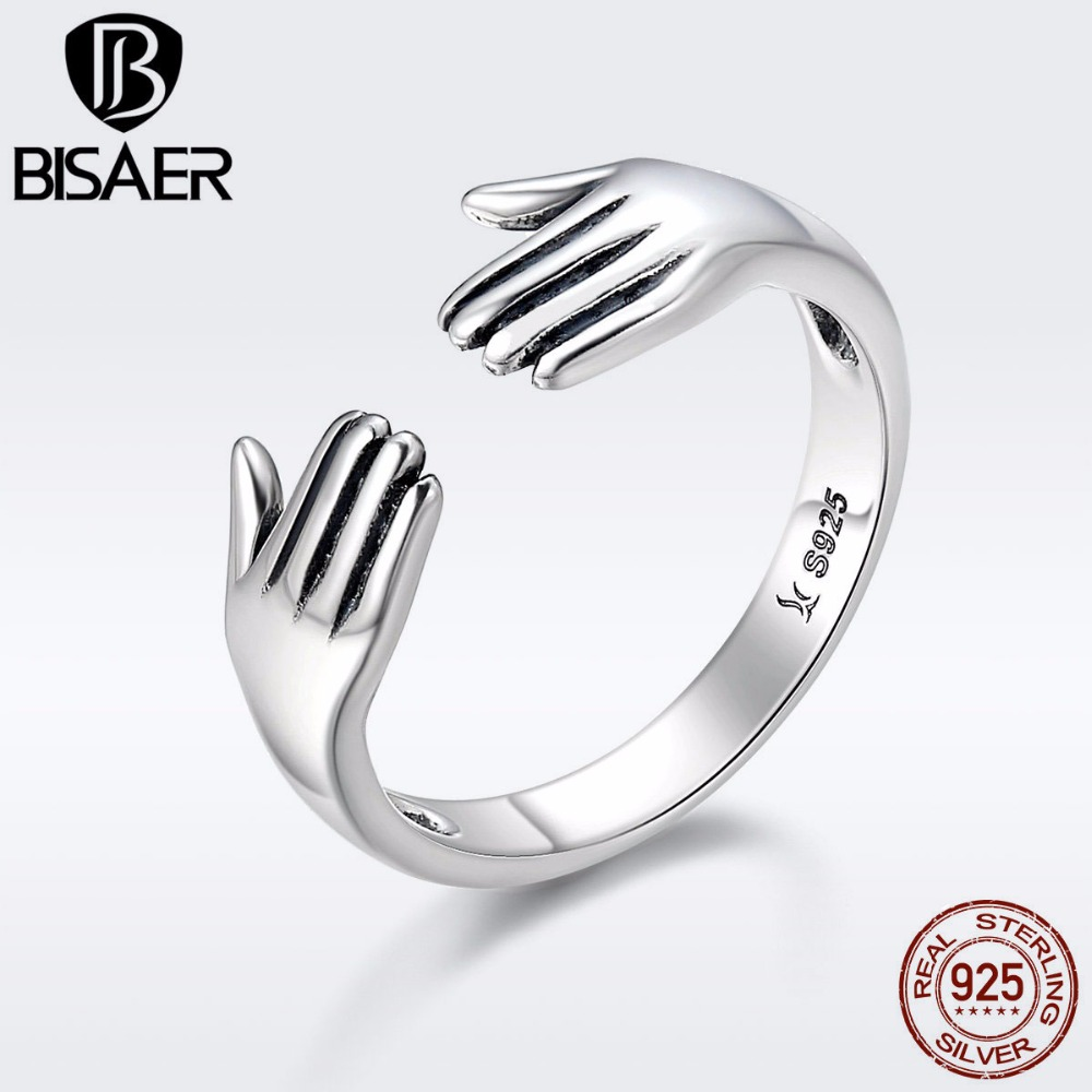 Hot Sale Genuine 925 Sterling Silver Mom Hug Mother Hand Love Forever Finger Ring Women Silver 925 Jewelry Anillos ECR136 mom love daughter forever with 100