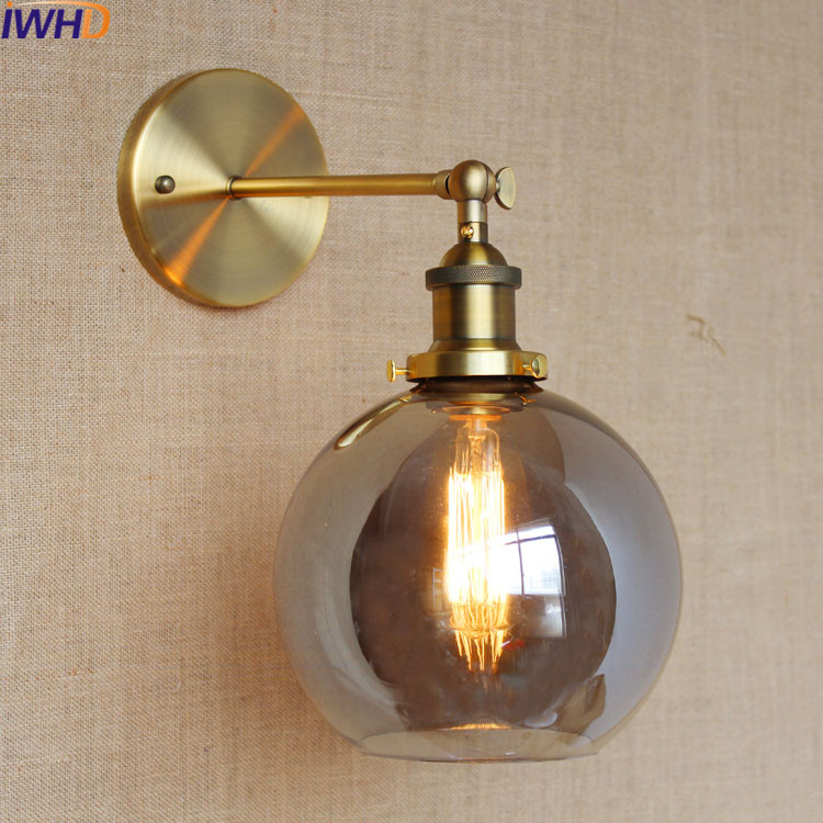 IWHD Glass Ball Led Wall Light Vintage Arm Lighting Stairs Loft Style Industrial Wall Lamp Retro Iron Sconce aplik lamba Lights iwhd loft vintage led wall lamp glass lampshade retro industrial wall lights bedside light fixtures for home lighting luminaire