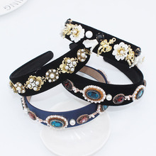 Baroque Pearl Flower Headband Court Retro Catwalk Geometric Hair Accessories Black Fascinator Blue Headdress Jewelled Head Band