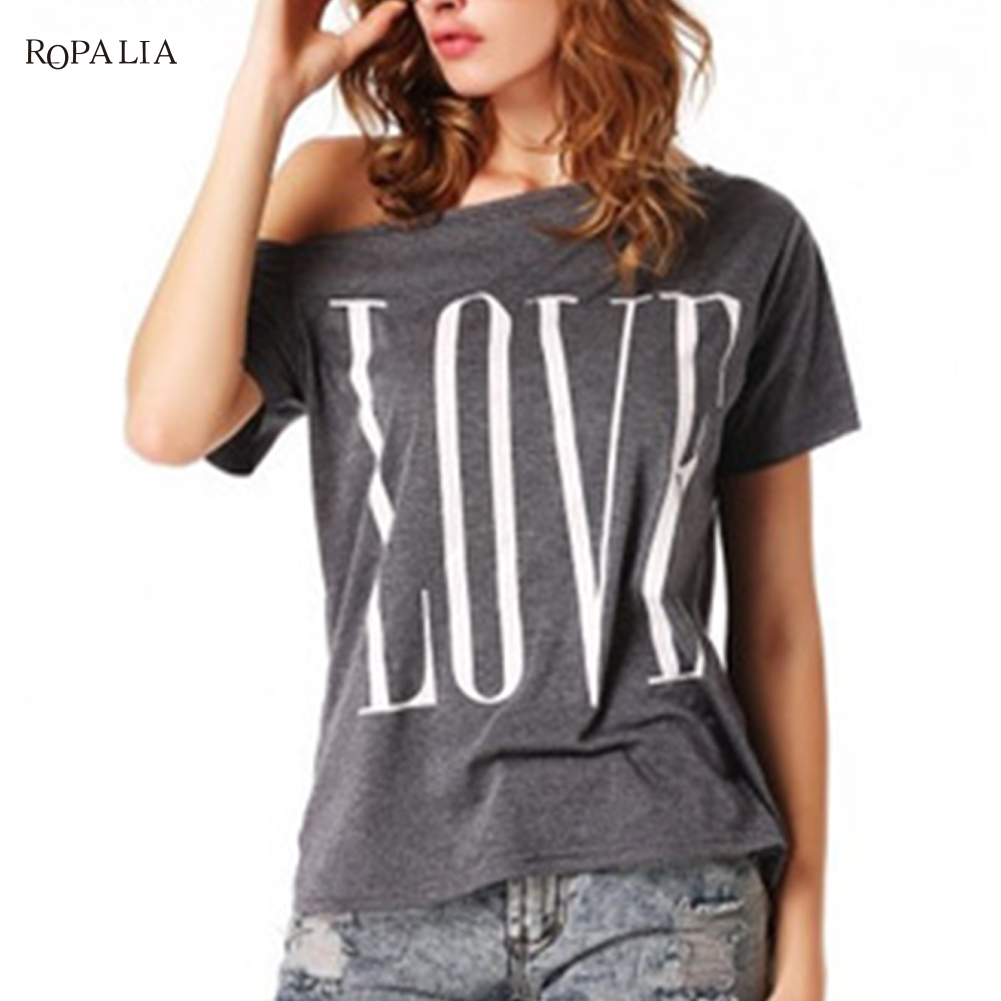Women Sexy Off Shoulder Tops Loose Cotton Letter Shirt Ladies Short Sleeve Crew Neck T-shirt S-XL