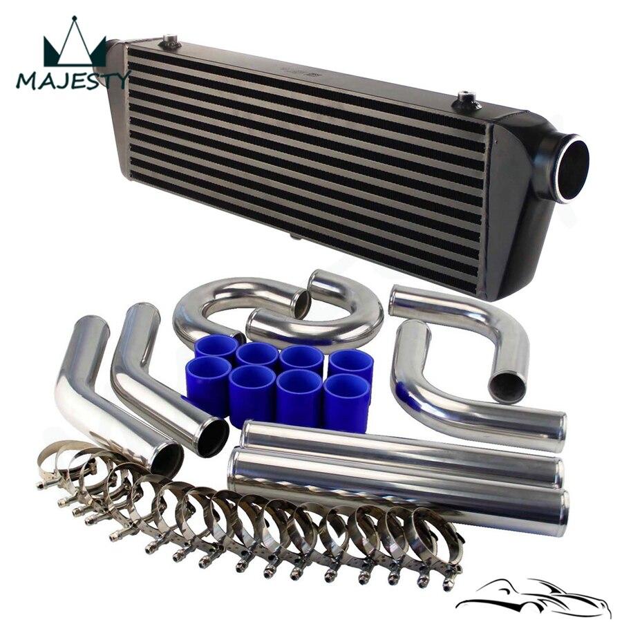 "Universal DIY 2.5"" Aluminum Piping Hose Clamps + 550x180x64 FMIC Intercooler Kit|  - title="