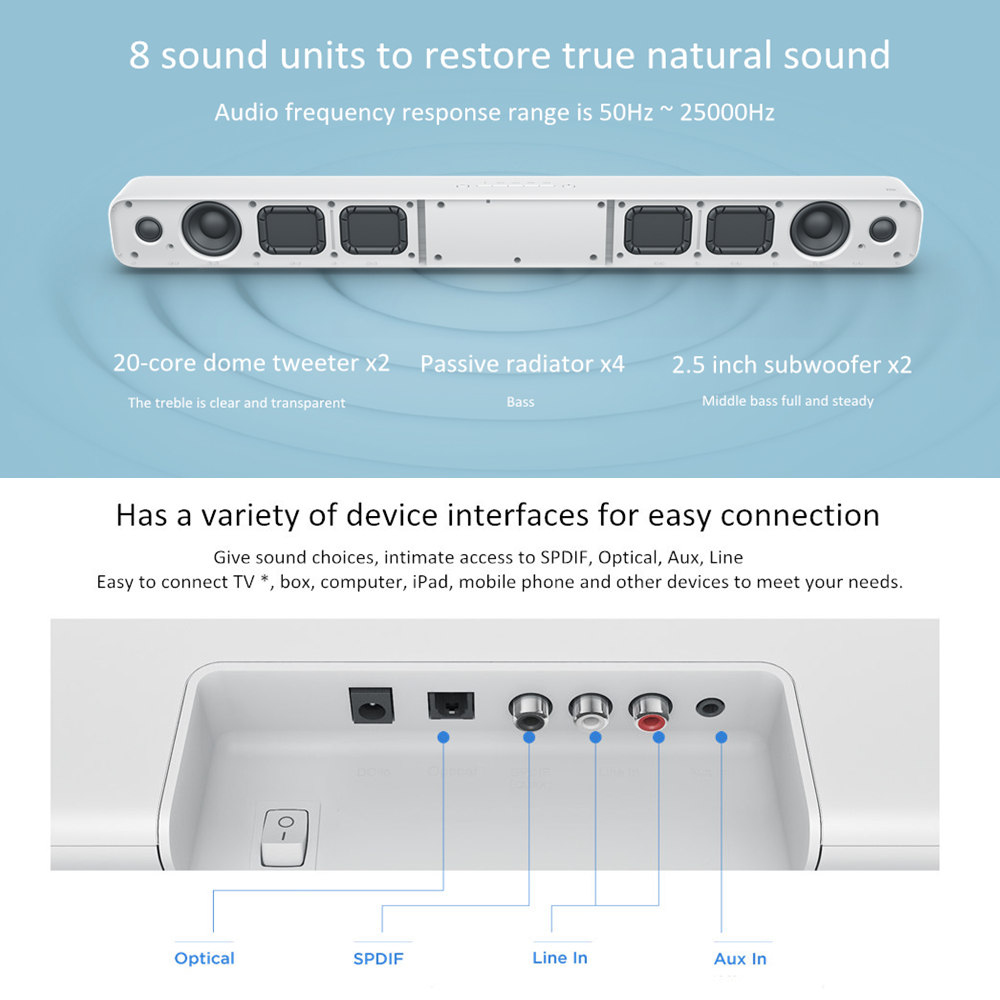 Original Xiaomi Mi Wireless TV Audio Home Theater Speaker Soundbar ...