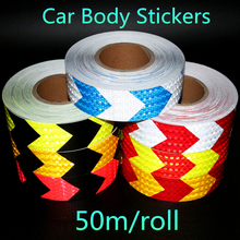5cmX50m Black White Blue Red Yellow Arrow Safety Mark Reflective Tape stickers strips Self Adhesive Warning Tape High Visibility