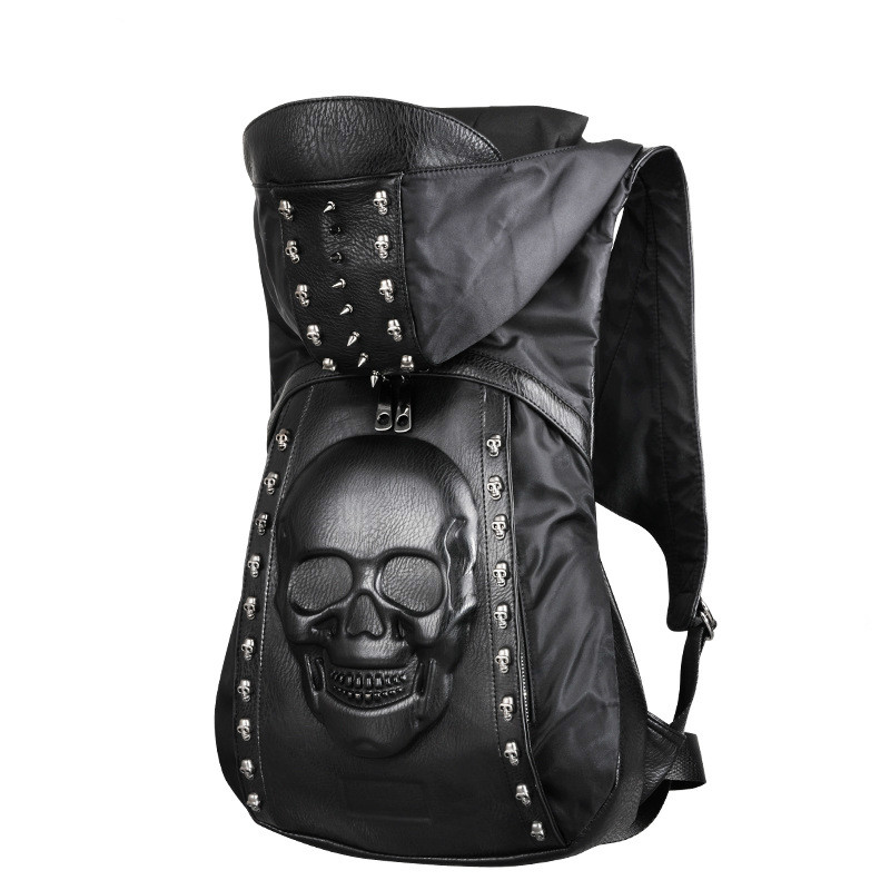 Fahion Backpack Stylish Punk Shoulder Bag Black Backpack 3D Skull Rivet Creative Special Teenager Youth Men Girl PU Leather Bag