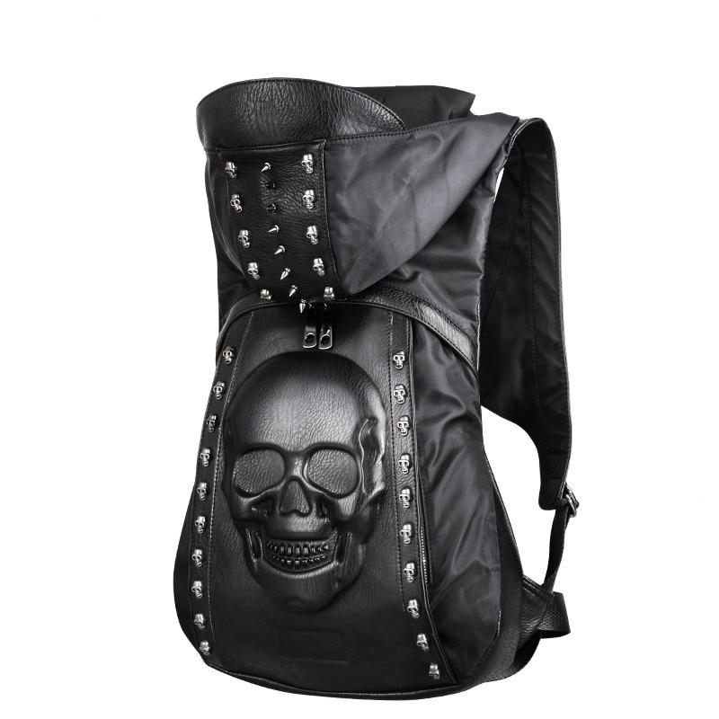 Mode sac à dos hommes noir en cuir sac 3D crâne Lion tête de loup motif Rivet créatif spécial adolescent garçon fille en cuir sac à dos