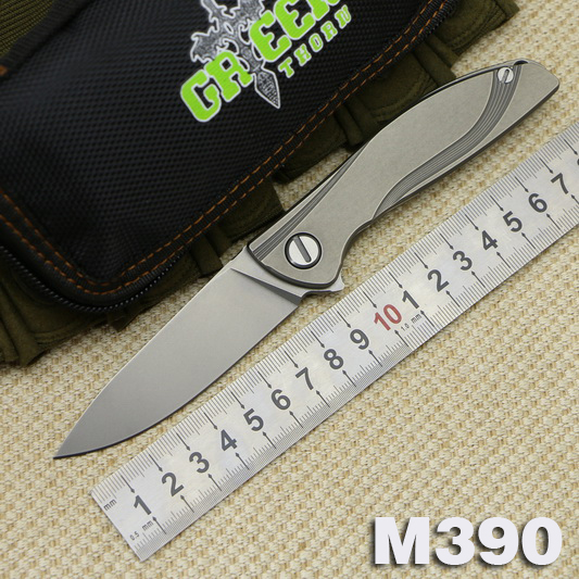Green thorn NeOn Lite M390 MRBS clamshell folding knife bearings TC4 titanium handle outdoor camping hunting