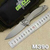 สีเขียวหนามนีออนLite M390 MRBSหอยพับมีดแบริ่งTC4ไทเทเนียมจัดการตั้งแคมป์กลางแจ้งล่าสัตว์p ocket EDCเครื่องมือ
