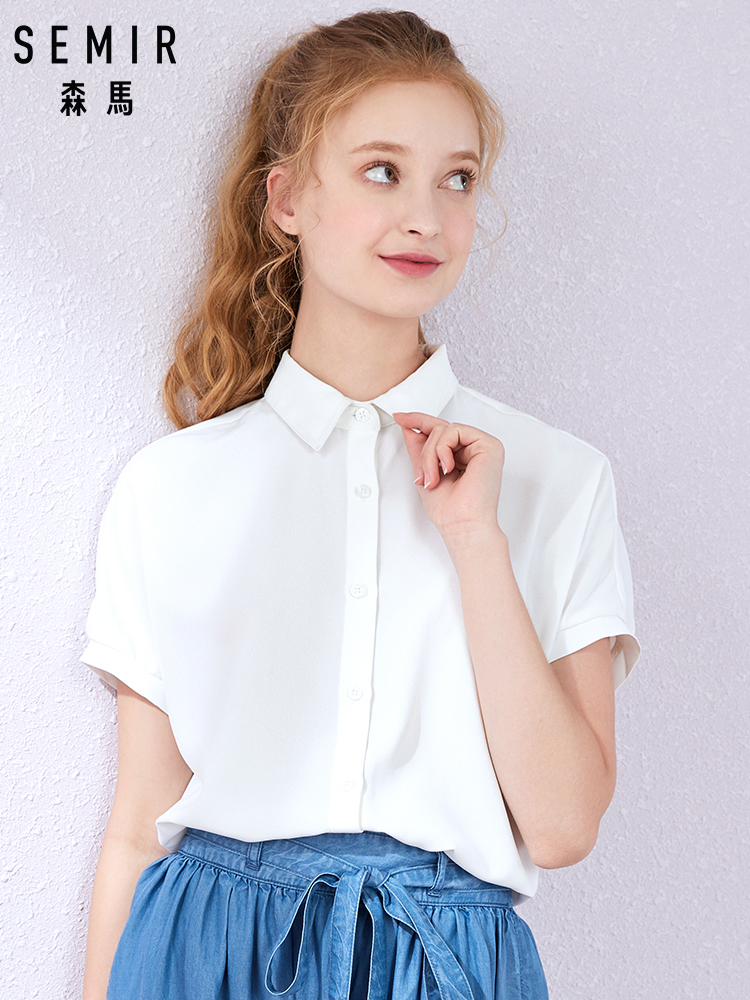 SEMIR  2019 Summer New Short Sleeve Shirt Women Lapel College Wind Girl Sweet College Wind Chiffon Shirt Tide
