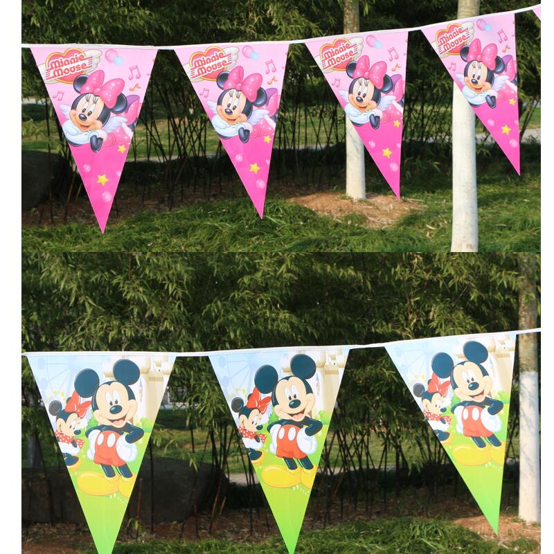 2.5m/set Mickey Minnie Banner and Flag Cartoon Theme Party for Kids Happy Birthday Decoration Baby Mickey Theme Party Supplies