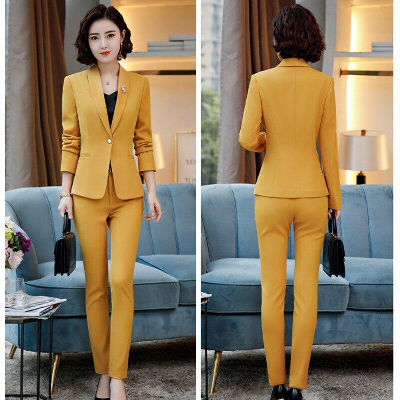 Women's Suit Solid Color Slim Slimming Women's Suit Two-piece Suit (jacket + Pants) Women's Business Office Formal Suit