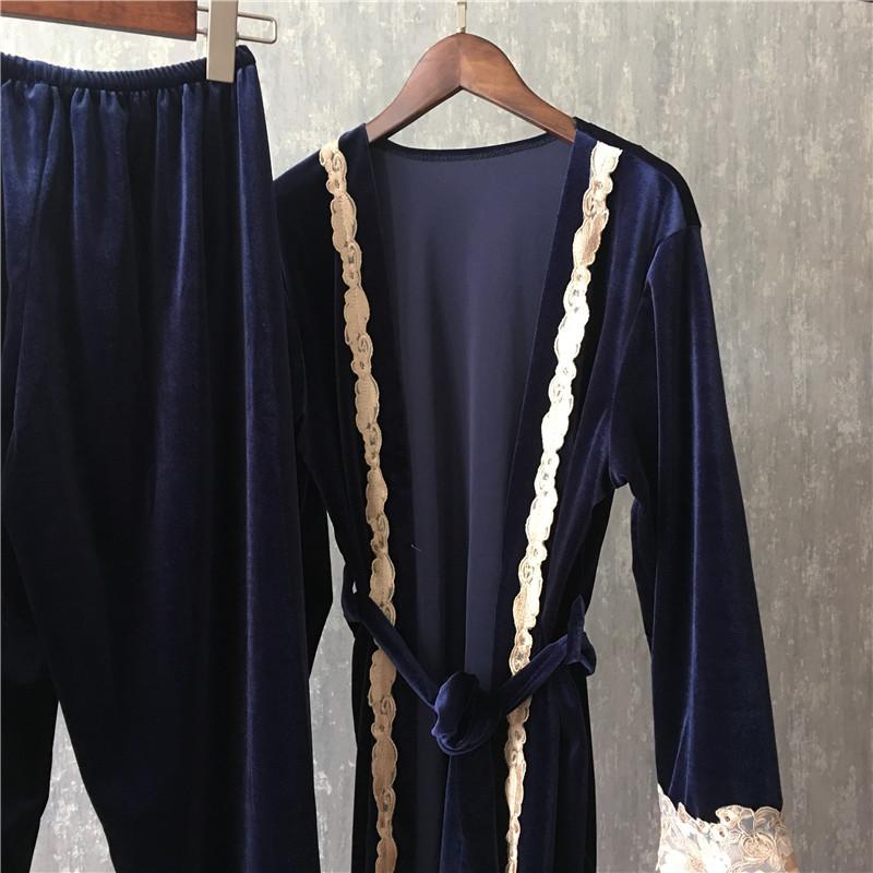 decf2822a2 Fiklyc brand autumn female three pieces pajamas sets fashion lace ...